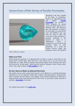 Choose from a Wide Variety of Paraiba Tourmaline