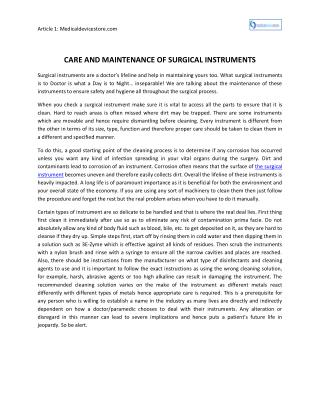 Care And Maintenance Of Surgical Instruments
