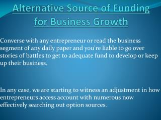 Rise Your Business With Alternative Source Of Funding