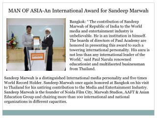 MAN OF ASIA-An International Award for Sandeep Marwah