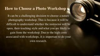 How to Choose a Photo Workshop