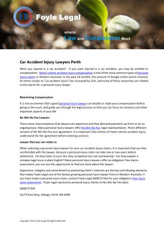 Car Accident Injury Lawyers Perth - Foyle Legal