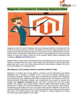 Magento ecommerce training opportunities at brisbane