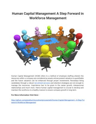 Human Capital Management A Step Forward in Workforce Management
