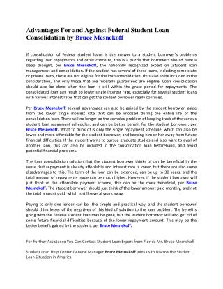 Advantages For and Against Federal Student Loan Consolidation by Bruce Mesnekoff