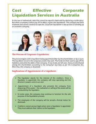 Cost Effective Corporate Liquidation Services in Australia