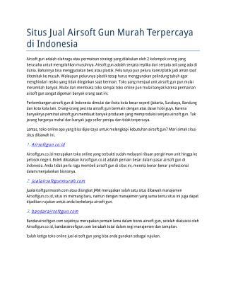 Situs Jual Airsoft Gun Murah Terpercaya di Indonesia