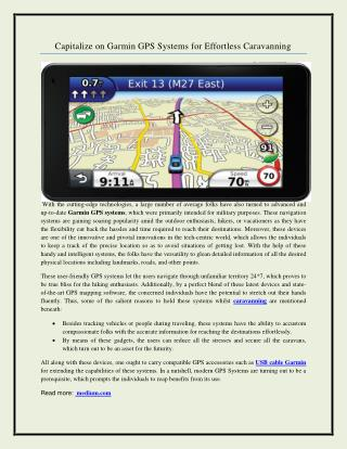 Capitalize on Garmin GPS Systems for Effortless Caravanning