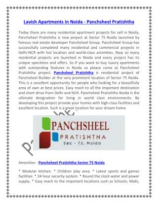 Lavish Apartments in Noida - Panchsheel Pratishtha