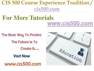 CIS 500 Course Experience Tradition / cis500.com
