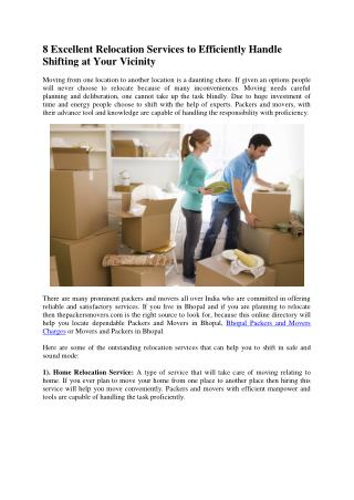 8 Excellent Relocation Services to Efficiently Handle Shifting at Your Vicinity