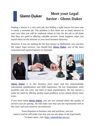 Meet your Legal Savior- Glenn Duker