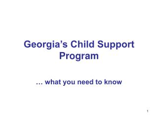 Georgia s Child Support Program