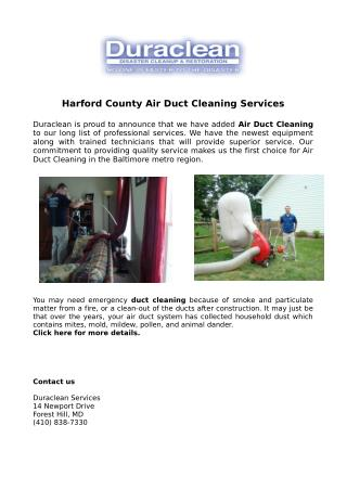 Harford County Air Duct Cleaning Services