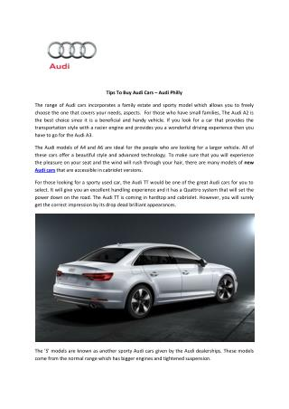 Tips To Buy Audi Cars – Audi Philly