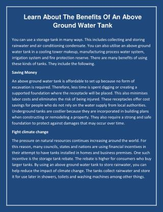 Learn About the Benefits of an Above Ground Water Tank