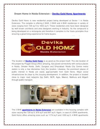 Dream Home in Noida Extension – Devika Gold Homz Apartments