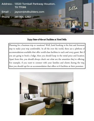 Enjoy State-of-the-art Facilities at Hotel Bella