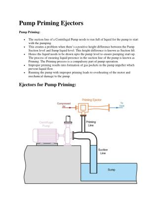 Pump Priming Ejectors