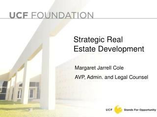 Overview Real Estate Goals  Financing Structure Guidelines for Developers Project Review