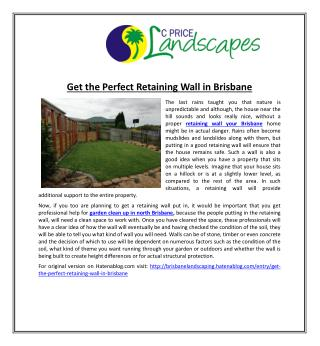 Get the Perfect Retaining Wall in Brisbane