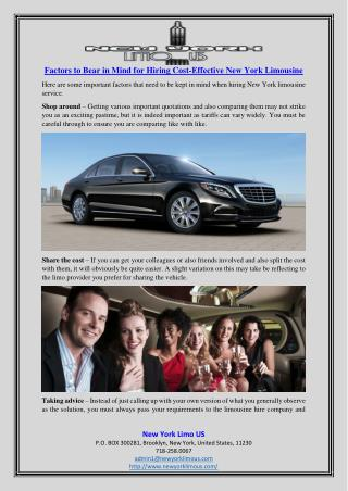 Factors to Bear in Mind for Hiring Cost-Effective New York Limousine