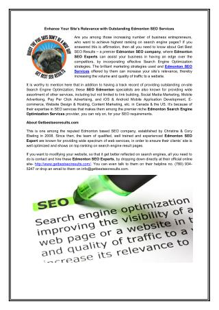 Edmonton Search Engine Optimization Services