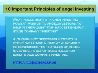 10 Important Principles of angel Investing