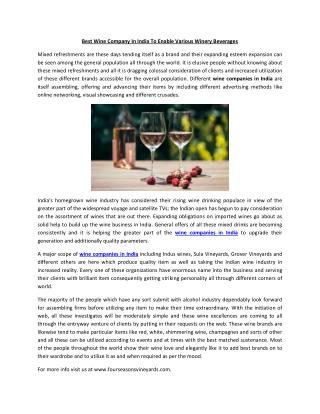 Best Wine Company In India To Enable Various Winery Beverages