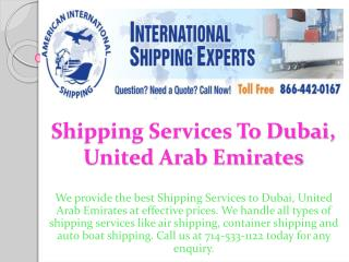 shipping services to Dubai,United Arab Emirates