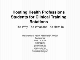 Hosting Health Professions Students for Clinical Training Rotations