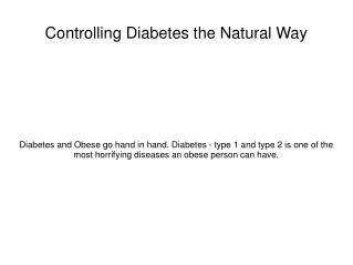 Controlling Diabetes the Natural Way