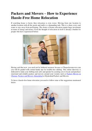 Packers and Movers – How to Experience Hassle-Free Home Relocation