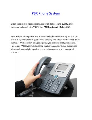 PBX Phone System in Dubai- PABX Telephone Systems