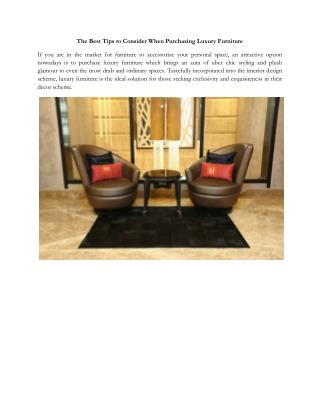 The Best Tips to Consider When Purchasing Luxury Furniture