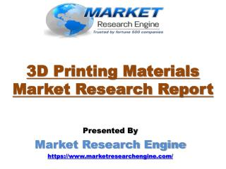 3D Printing Materials Market to cross USD 1400 million by 2020