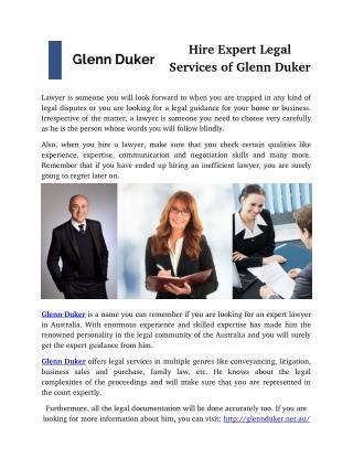 Hire Expert Legal Services of Glenn Duker