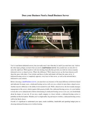 Does your Business Need a Small Business Server