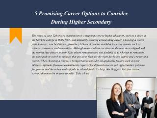 5 Promising Career Options to Consider During Higher Secondary