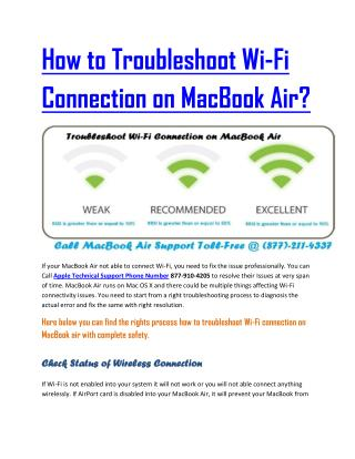 How to Troubleshoot Wi-Fi Connection on MacBook Air?