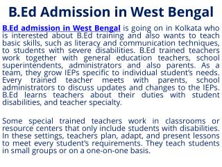 B.Ed Training in West Bengal