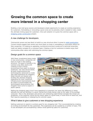 Growing Common Space to Create Interest in Shopping Centers