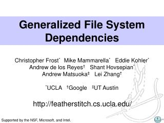 Generalized File System Dependencies
