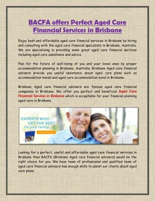 BACFA offers Perfect Aged Care Financial Services in Brisbane