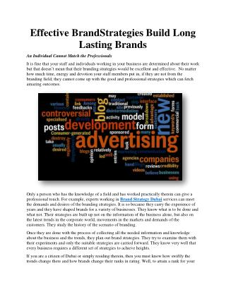Effective Brand Strategies Build Long Lasting Brands