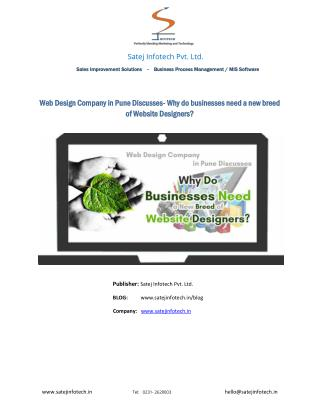 Web Design Company in Pune Discusses- Why do businesses need a new breed of Website Designers?