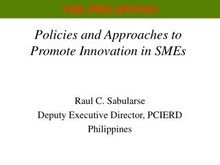 Policies and Approaches to Promote Innovation in SMEs