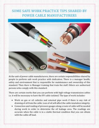 Some Safe Work Practice Tips Shared by Power Cable Manufacturers.pdf