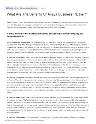 What Are The Benefits Of Avaya Business Partner?
