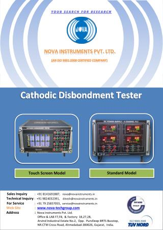 Nova Instruments Pvt. Ltd  are manufacturers of Cd Tester, Cathodic Disbondment Tester